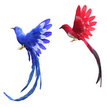 Artificial bird feathers plastic figurine landscape ornament