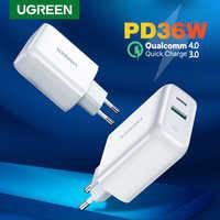 Ugreen 36 w carregador rápido usb carga rápida 4.0 3.0 tipo c pd carregamento rápido para o iphone 11 carregador usb com qc 4.0 3.0 carregador de telefone