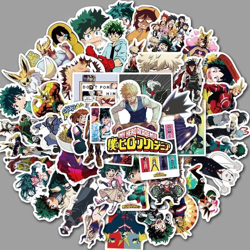 50PCS My Hero Academia Suitcase Stickers Laptop Skateboard Izuku Midoriya All Might Boku No Hero Academia Anime Character Decals