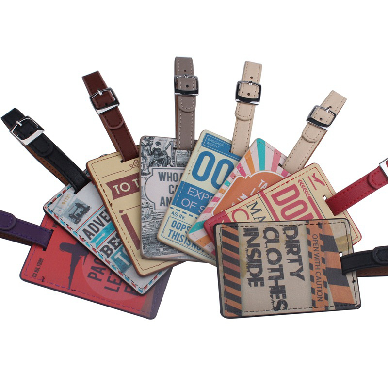 Fashion Multicolor Letter Luggage Tag Portable Travel Accessories Label  PU Leather Suitcase ID Address Holder Baggage Boarding