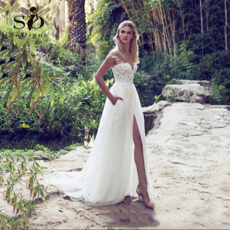 SoDigne Country Lace Wedding Dresses Sexy Illusion Back Split Skirt Gown Bridal Vintage Garden Beach Boho Wedding Dresses