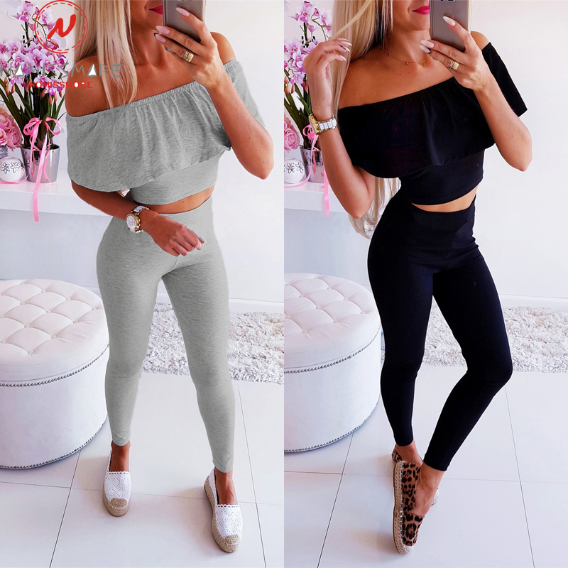 Streetwear 2 Piece Outfits For Women Sexy Off Shoulder Short Sleeve Strapless Solid Color Short Top+Elastic Waist Pencil Pants