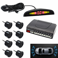Car Parking Sensor with 8 Sensors 22mm Flat Sensor Parking System LED Monitor Buzzer Alarm Parktronic Backup Car Reversing Radar