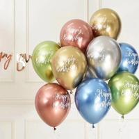 Globos metálicos de látex cromado para fiesta de cumpleaños, 10 Uds., 12 pulgadas, patrón de dibujo cumpleaños feliz, Balón de helio, decoraciones para fiesta de cumpleaños