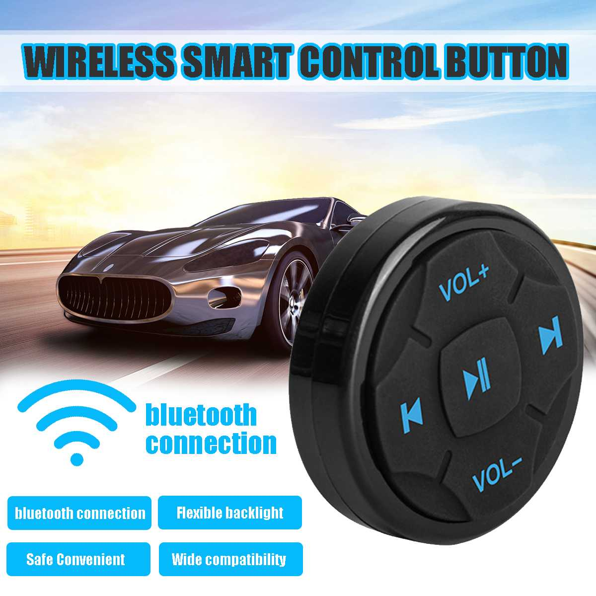 Universal Car bluetooth Steering Wheel Mobile Phone Wireless Remote Control MP3 Music Play for Android IOS Phone Control Car Kit
