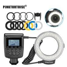 цена на PINKTORTOISE Macro LED Ring Flash Light RF550D For Nikon Canon Olympus DSLR Camera