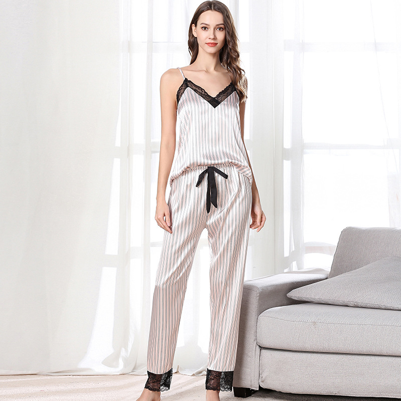 Pajamas Female Summer Sexy Lace V-neck Stripes Camisole Trousers Loose Comfortable Homewear Set-Outer Wear
