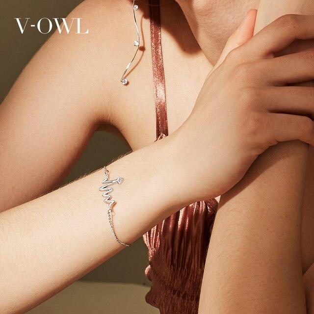 Фото браслет v owl с подвижным сердцем из нержавеющей стали цирконом