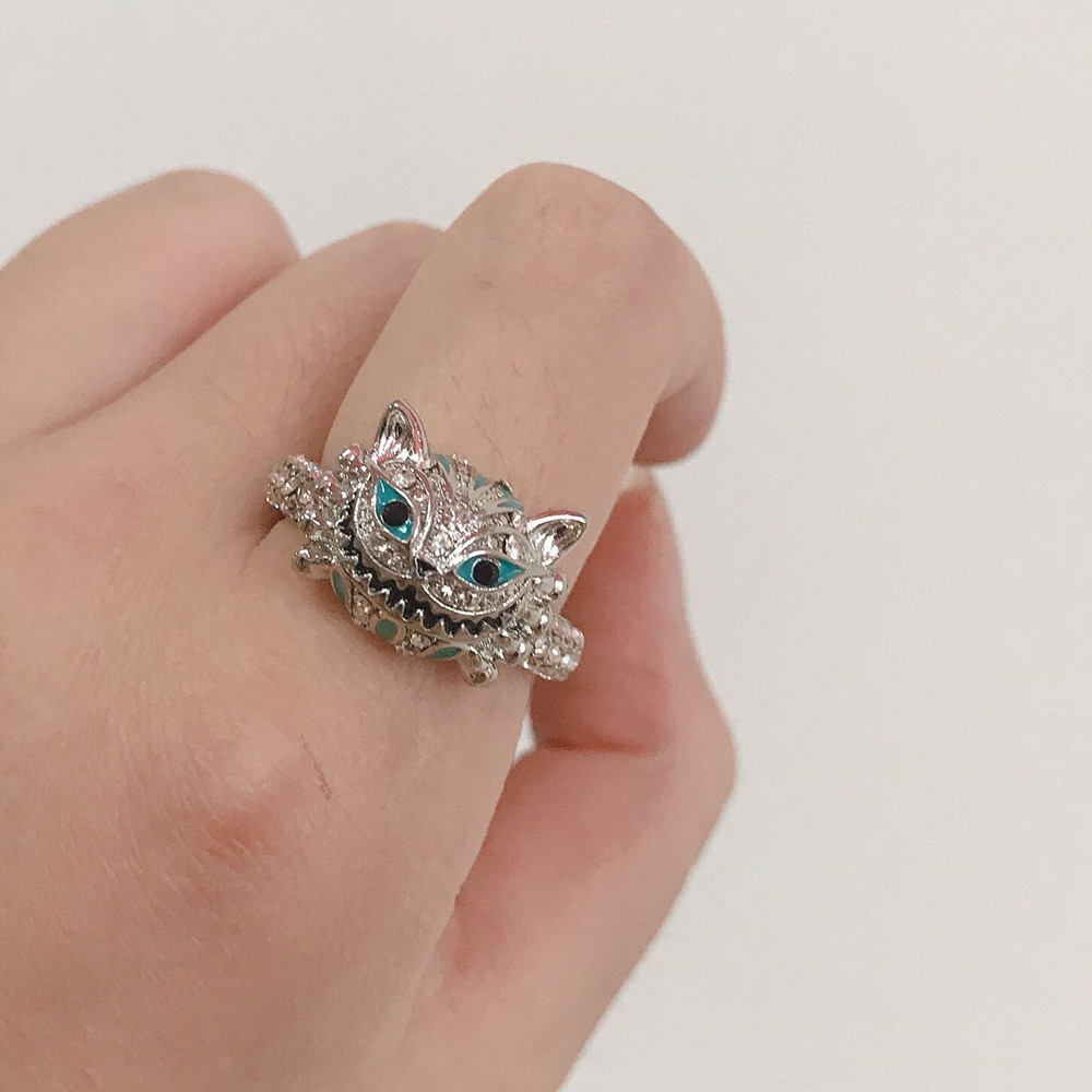 FFLACELL 2020 New Retro Punk Blue Skull Two-tone Ring Drip Glazed Rhinestone Cat Hip Hop Ring for Women Girls Gift Party