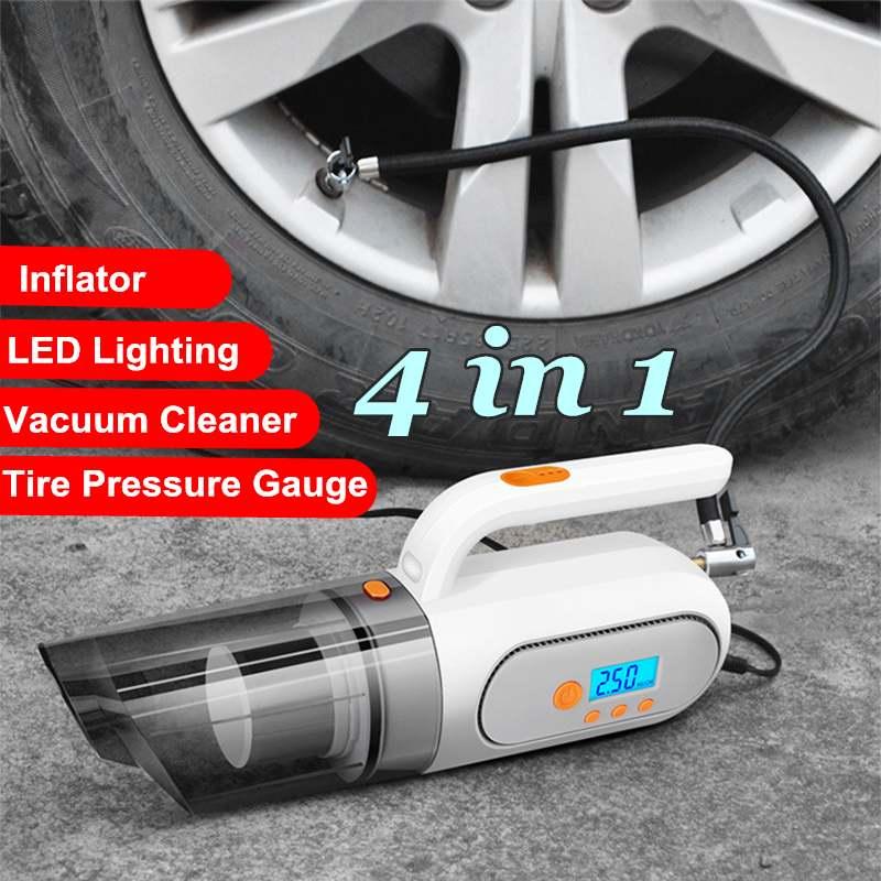 Car Handheld Vacuum Cleaner 4 in 1 Digital Tire Inflator Pump Pressure Gauge Wet Dry Cleaner for Car Home with LED Light