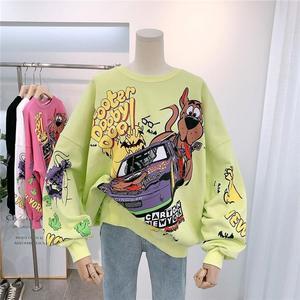 Double-sided pattern Sweatshirts Hip Hop Coats Funny Oversized Sweatshirt Women Cartoon Cotton Pullover Turtleneck Streetwear