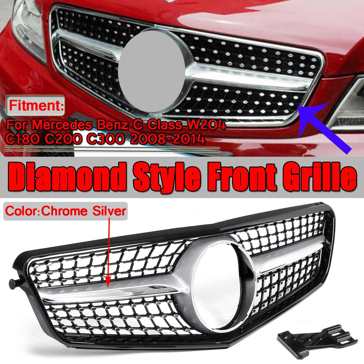 High Quality Black/Chrome Car Front Bumper Grille <font><b>Grill</b></font> For Mercedes For <font><b>Benz</b></font> C Class <font><b>W204</b></font> C180 C200 C300 2008-2014 image