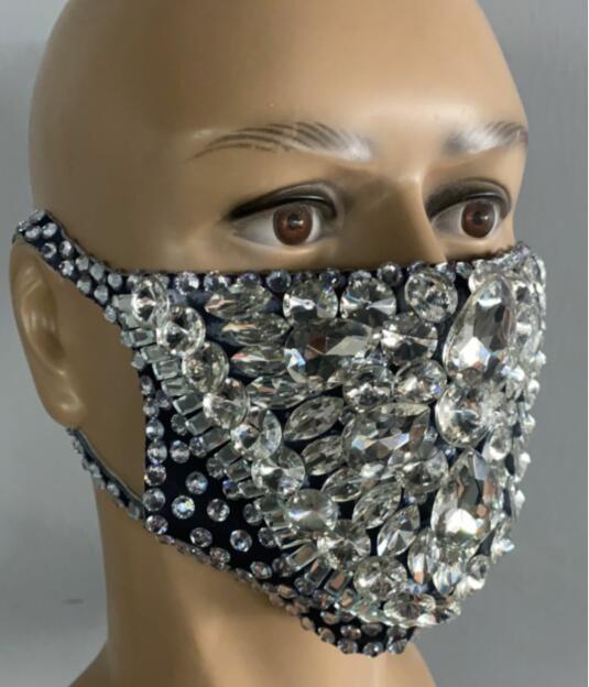 Fashion Rhinestones Masks Party Show Costume Performance Evening Club Dance Wear Singer Costume Stones Masks