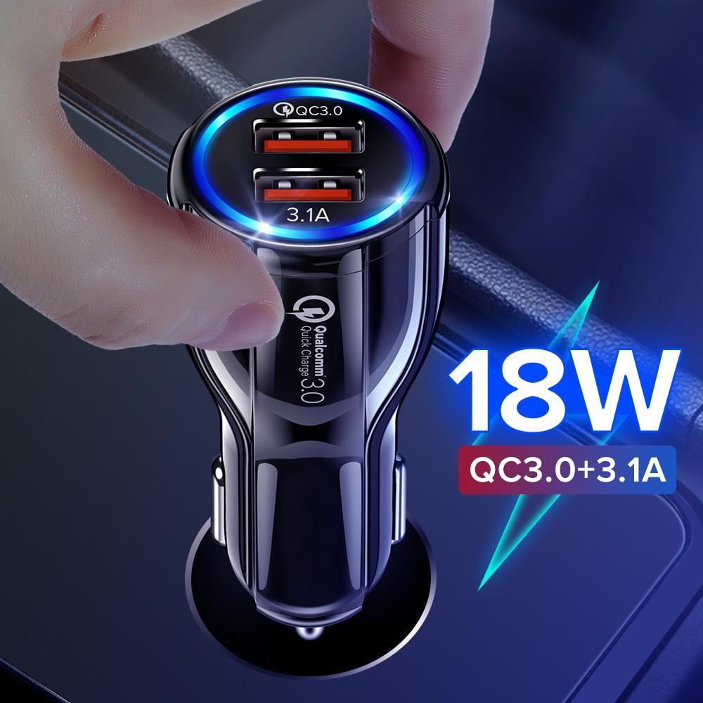 Getihu 18W Dual Usb Autolader Led Snel Opladen Plug Quick Telefoon Opladen Adapter Voor Iphone 12 11 7 samsung Xiaomi Mi Huawei Lg 1