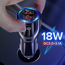 GETIHU 18W зарядное устройство для автомобиля с двумя портами USB LED быстрой зарядки Quick телефона адаптер зарядного устройства для iPhone 12 11 Pro Max 6 7 8 ...