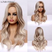 Highlight Wigs Blonde Louis Ferre Natural-Wave Black Women Heat-Resistant Brown Long