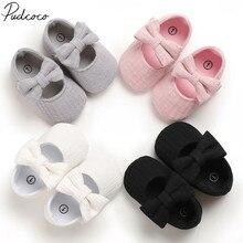Детские первые ходунки одежда детская обувь новорожденная коляска для новорожденного девочки принцесса Мокасины бант одноцветная мягкая обувь