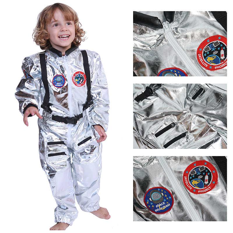 SNAILIFY เงิน Spaceman Jumpsuit เด็กชายเครื่องแต่งกายสำหรับเด็ก Halloween คอสเพลย์เด็ก PILOT Carnival PARTY แฟนซีชุด