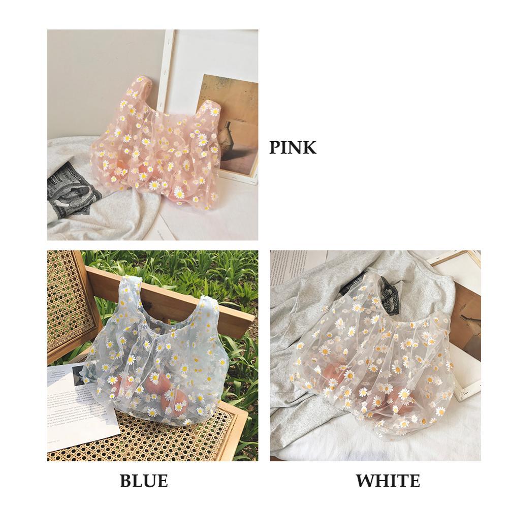 Bags for Women 2020 Summer New Luxury Handbags Women Bags Designer Mesh Embroidery Female Shopping Bag Flowers Tote Bag