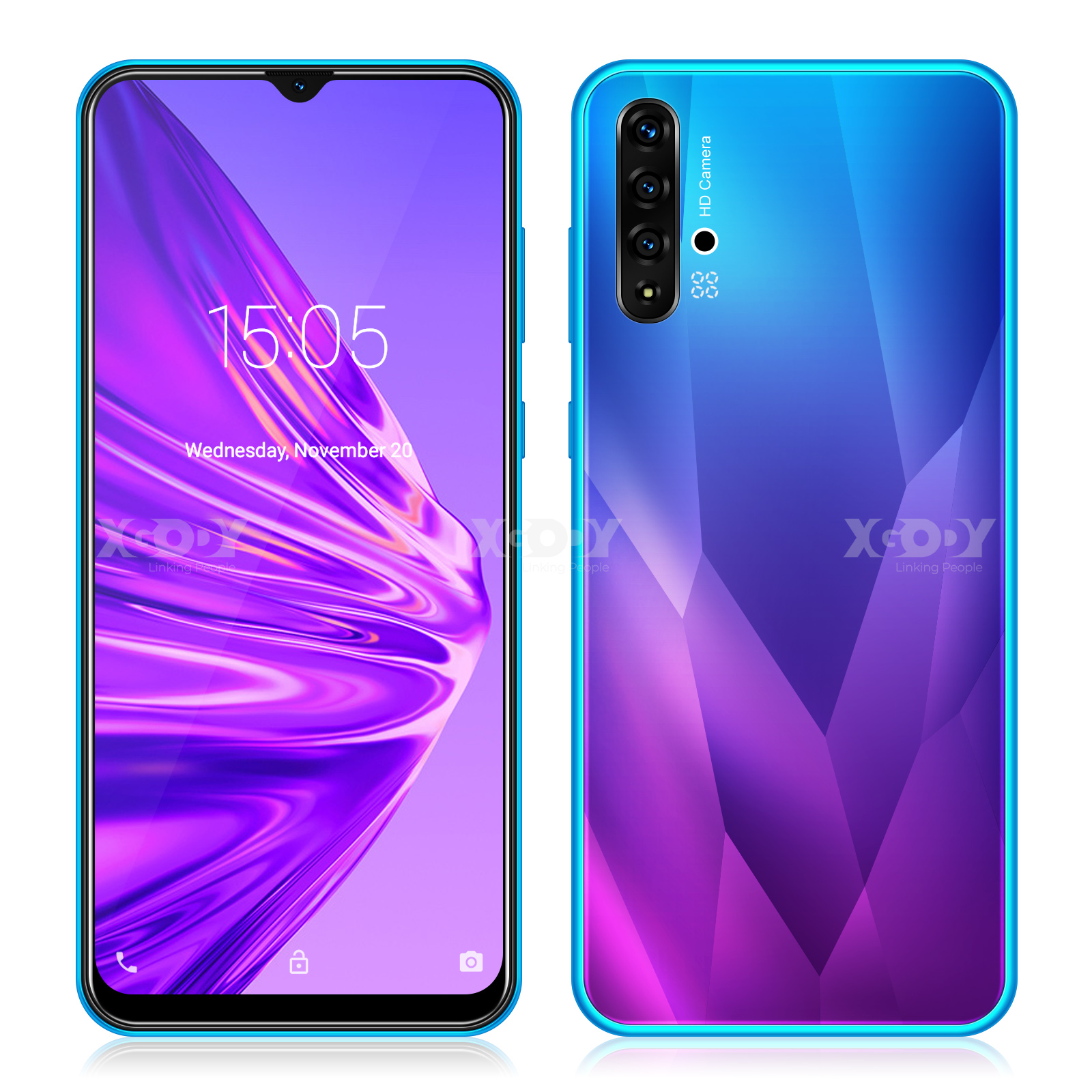 "XGODY A50 3G Smartphone 6.5"" 19:9 Android 9.0 1GB RAM 4GB ROM 5MP Camera Quad Core Dual SIM GPS WiFi Mobile Phone CellPhone"