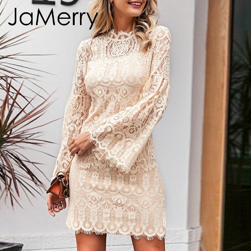 JaMerry, винтажное сексуальное кружевное женское платье с вышивкой, элегантные расширяющиеся к низу рукава, женское вечернее платье, плиссиров...