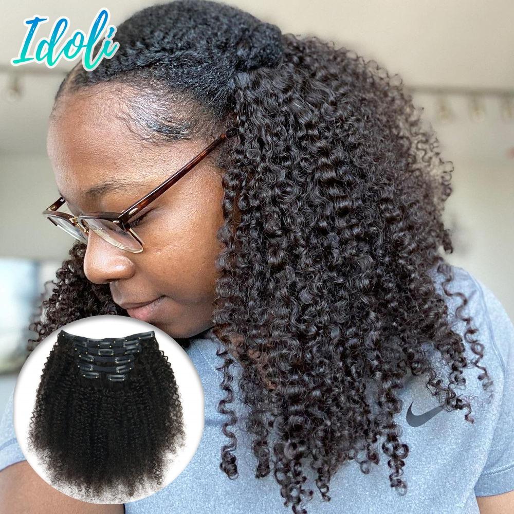 Idoli Hair Brazilian Hair Kinky Curly Clip In Hair Extensions Human Hair Curly Hair Clip Ins 7Pcs Afro Kinky Clip Ins Hair