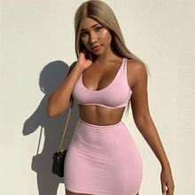 2 Piece Sets Womens Outfits Summer Suit Female Skirt + Shirt Sleeveless O-neck Women Clothes Club
