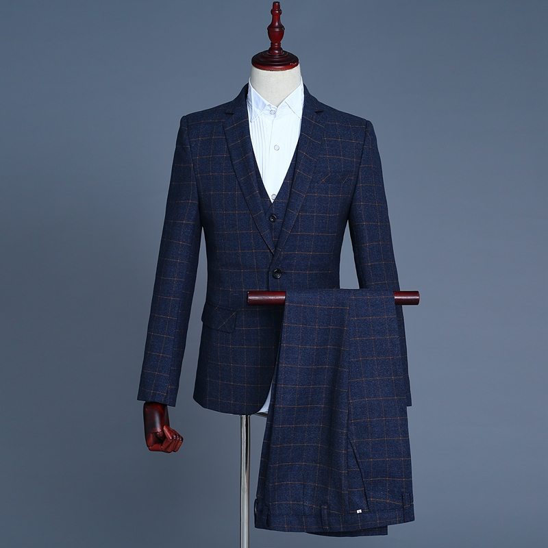 Fashion Boutique Plaid Three-Piece Suit Classic Tailored Suit High-End Atmosphere Upscale Four Seasons Essential
