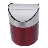 Stainless Steel 1.5L Mini Worktop Kitchen Waste Dust Bin Rubbish With Swing Lid Red|Waste Bins| |  -