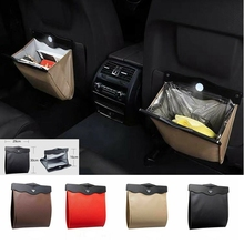 Car LED Foldable Dust Bin Storage Litter Bag Trash Container Back Seat Garbage Styling Case