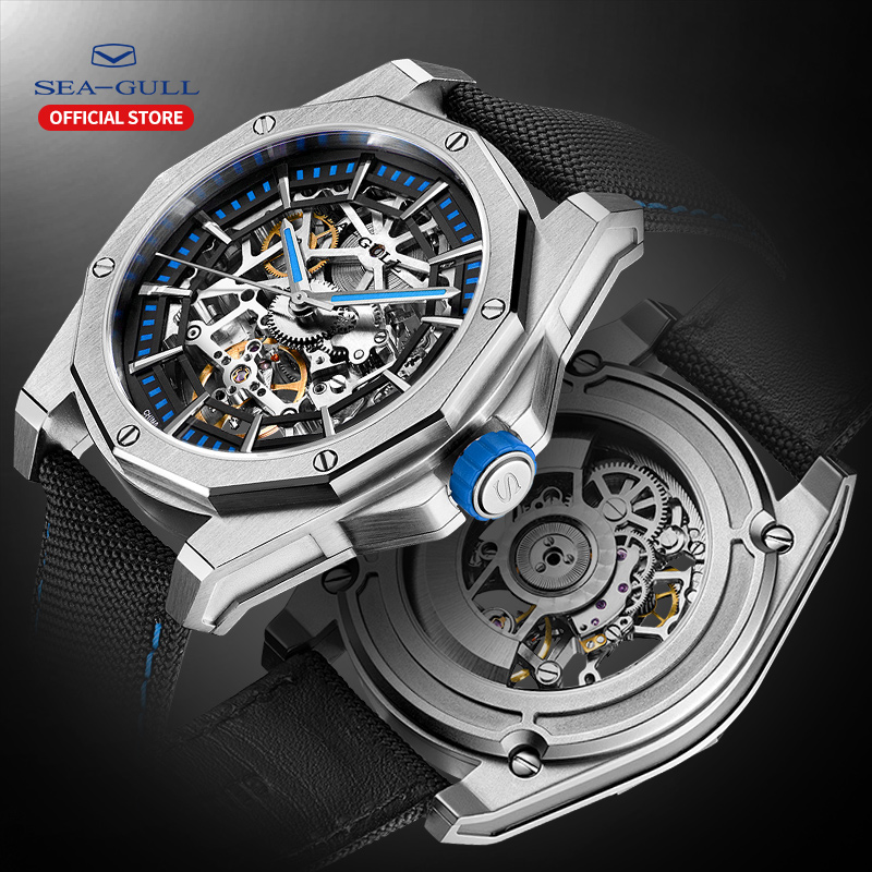 Seagull Watch Men Automatic Mechanical Hollow Perspective Mechanical Watch Large Dial 50 Meter Waterproof Personality Watch
