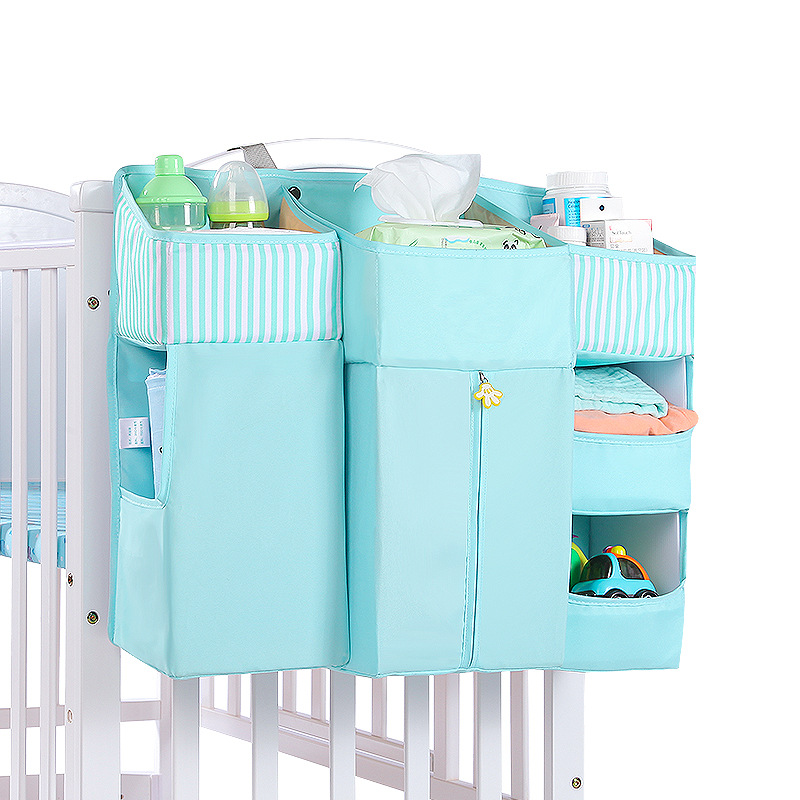 Portable Baby Crib Organizer Bed Hanging Bag For Baby Essentials Diaper Storage Cradle Bag Crib Bedding Set Bedside Diaper Caddy