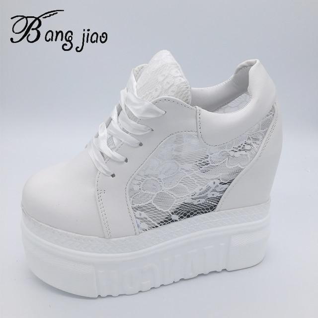 女性の加硫靴スニーカープラットフォーム 14 センチメートルウェッジヒールシルク弓白人女性カジュアルシューズ 2019 春夏レース靴