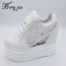Damskie buty wulkanizowane trampki platforma 14cm klinowe obcasy jedwabna kokardka białe kobiece obuwie 2019 wiosenne letnie buty sznurowane