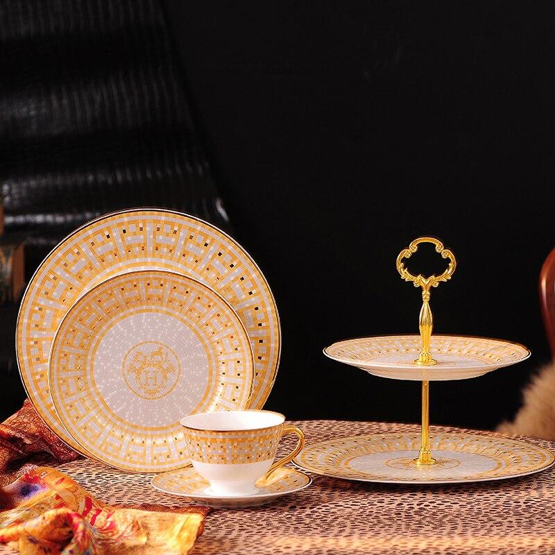 Vaisselle assiette de Steak or diamant | Vaisselle de luxe, série or et diamant, plateau en porcelaine, plateau européen vaisselle à gâteau - 4
