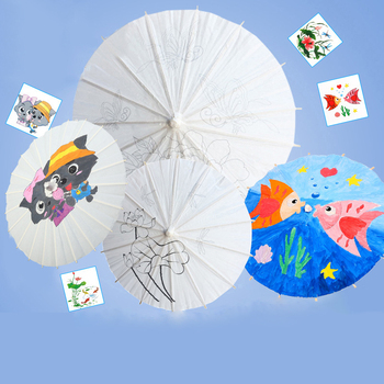 40cm Painting Handicraft Blank Oil Paper Umbrella DIY Children Toy Kit Kids Kindergarten School Educational Drawing Art Crafts декоративный зонтик paper umbrella