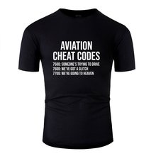 Tricoté Slogan T-Shirt Hipster comique adulte Aviation tricher Codes drôle pilote t-shirts col rond vêtements 2019(China)