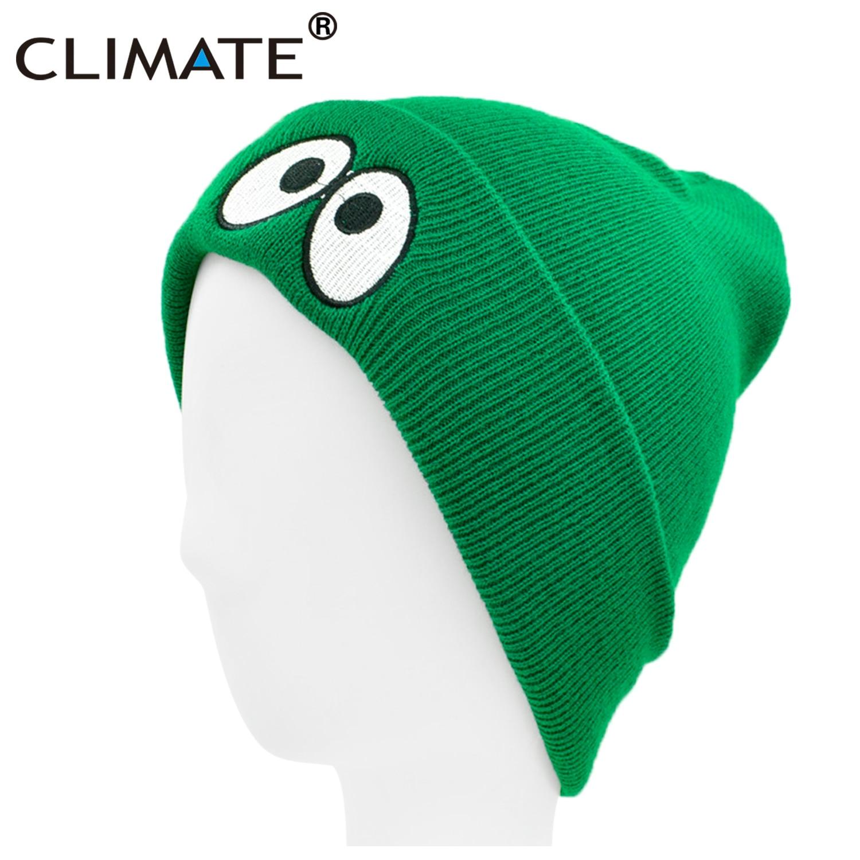 CLIMATE Cute Eyes Beanie Green Winter Hat Men Women Winter Gray Hat Autumn Warm Hat Knit Beanie Winter Hat Capfor Men Women