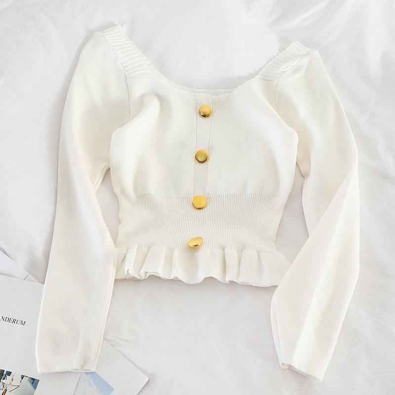 HELIAR White Chiffons Spring Shirt Buttons V-Neck Long Sleeve  Deep V-Neck Shirt Female Blouse Spring Shirt 2020 Spring Women