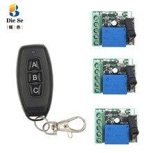 DieSe RF 433MHz télécommande sans fil universelle DC12V 1CH relais récepteur Module 3 boutons pour lampe 1 émetteur 3 fonctions