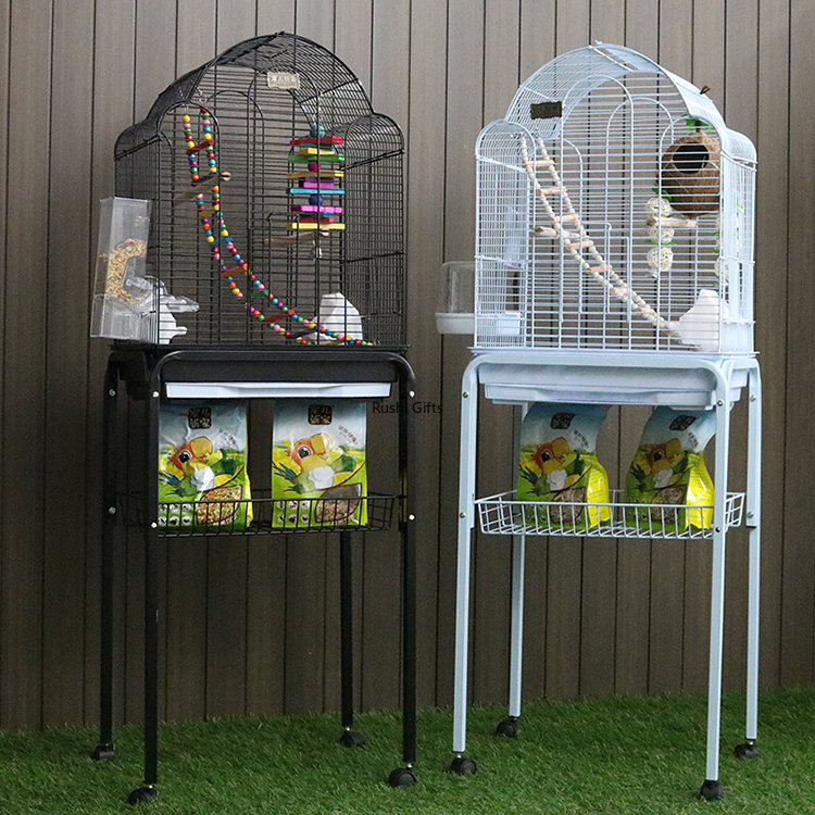 With Toy Large Bird Cages for Parrots Pigeon House Metal Budgie Bird Kages with Swing Hammock for Birds Supplies Decorative Cage