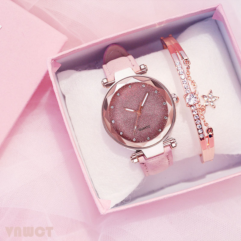 Fashion Women Romantic Starry Sky Wrist Watch Bracelet Leather Rhinestone Designer Ladies Clock Simple Dress Gfit Montre Femme