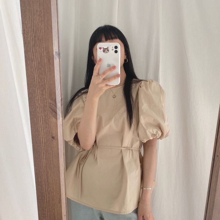 Hf56e379ab67a4cb78920948e56a5050e2 - Summer O-Neck Short Puff Sleeves Cotton Lace-Up Solid Blouse