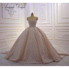 Amanda Design nikah elbisesi Kristall Perlen Glänzende Lange Zug Hochzeit Kleid Champagner
