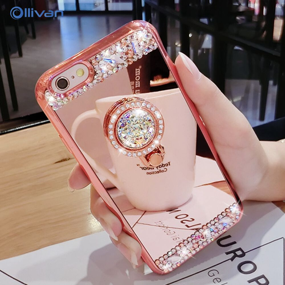 <font><b>Luxury</b></font> 3D Diamond Mirror Glitter Soft <font><b>Case</b></font> For iPhone 11 Pro Max Phone Holder Cover For <font><b>Samsung</b></font> <font><b>Galaxy</b></font> A50 A10 A20 <font><b>A30</b></font> A70 Coque image