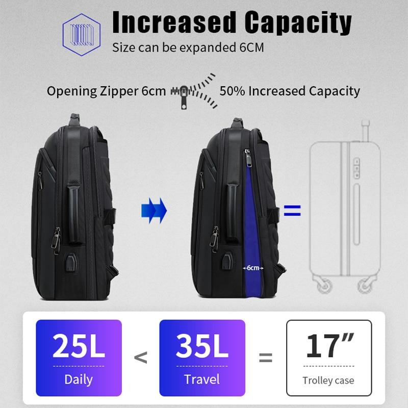 BOPAI Men Backpack Expandable Weekend Travel Backpack Men Water Repellent Laptop Backpack Computer Back Pack Male Bagpack 2