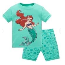 Cotton Girl Short Sleeve Pajamas Set Children Mermaid Print
