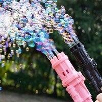 Gatling-pistola de burbujas para niños pequeños, máquina de burbujas de agua y jabón automático para interiores y exteriores, regalo de boda, color rosa