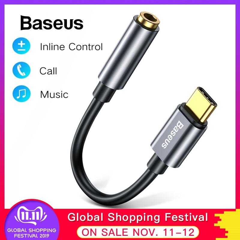Baseus Type C Male To 3.5mm Female Adapter Converter Headphone Jack For Huawei P30 Pro Xiaomi Oppo Type C Earphone Audio Adapter