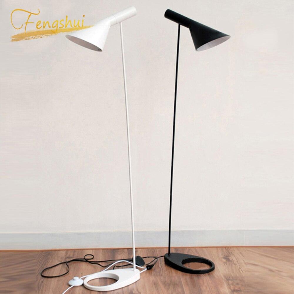 북유럽 디자인 aj 플로어 램프 블랙 메탈 스탠드 라이트 거실 침실 베드 사이드 led 플로어 램프 조명 luminaria 장식
